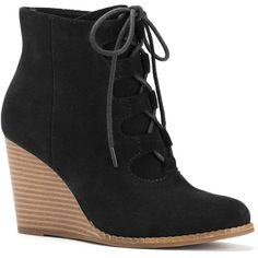SONOMA Goods for Life™ Women's Suede Wedge Ankle Boots ($60) ❤ liked on Polyvore featuring shoes, boots, ankle booties, black, black booties, suede ankle boots, black suede bootie, wedge booties and lace up wedge bootie