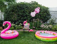 Pink Flamingo Birthday Party - flamingo pool floaties and flamingo drink holders - Inspired by This