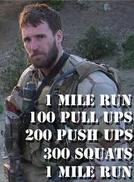 Hero WOD- Murph. I always feel a bit sad during hero WOD's but love being able to push myself to do my best in honor of their sacrifice.
