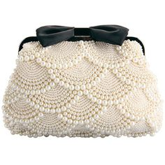 Pearl Bow-tie Shoulder Bag ($61) ❤ liked on Polyvore featuring bags, handbags, shoulder bags, clutches, pearl purse, pearl handbag, white shoulder bag, white handbags and white purse