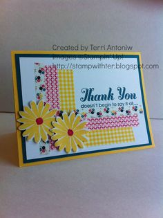 Ter's cheerful card uses Lots of Thanks, Secret Garden & its framelits and Gingham Garden Washi Tape. Sympathy Cards, Greeting Cards, Washi Tape Cards, New Catalogue, Paper Cards, Making Ideas, Buffet, Stampin Up, Card Ideas