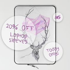★ 20% OFF Laptop Sleeves on Society6 Today! ➤ https://society6.com/edrawings38/laptop-sleeves ★ #laptop #laptopsleeve #sale #discount #valentinesday #giftideas #gifts #love #heart #deer #drawing #illustration #society6