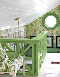 "Attic space with a really nice railing and great use of color and light , these colors would be really cute at the farm attic.....wish I had a ""farm attic"" @Elly Gatt (is this you or what!)"
