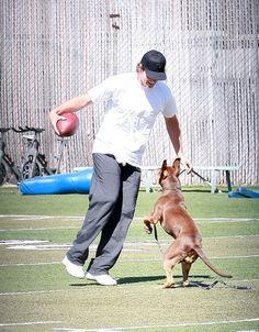 Tom Brady (New England Patriots QB) + Lua practicing some football moves ;-)