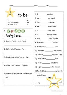 To be verb practice Level 1 - English ESL Worksheets for distance learning and physical classrooms English Grammar For Kids, Learning English For Kids, Teaching English Grammar, English Worksheets For Kids, Verb Worksheets, English Verbs, English Activities, Grammar Lessons, English Vocabulary