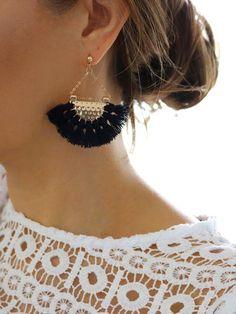 Anahola Tassel Earrings {Black}