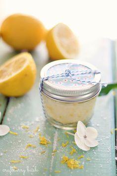 Simple Sugar Lemon Face Scrub recipe will gently give you a glorious glow (@ Craftberry Bush)