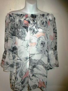 Karen Kane Top Blouse On Off Shoulder size S Floral Elastic Bell Sleeves   eBay