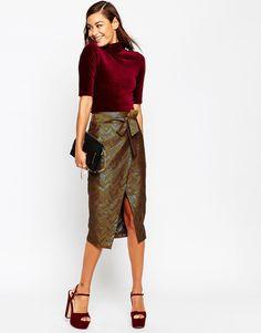 Image 1 ofASOS Wrap Pencil Skirt in Chevron Jacquard