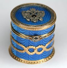 Antique VintageFaberge Box in Solid Silver Gilt with Approx 4ct Diamonds Matched Box