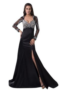 herafa Long sleeve A-Line Evening Gowns Sweep Length Train Delicate Beading Black Size:16 herafa,http://www.amazon.com/dp/B00BSLTF0Q/ref=cm_sw_r_pi_dp_GQmFrb4DA1734E81