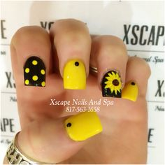 54 Most Trendy Cutest Yellow Nails Design You Should Try For Daily Life Nails Design Idea 08 Nails Yellow, Yellow Nails Design, Cute Toe Nails, Pretty Nails, Toe Nail Color, Nail Colors, Pokadot Nails, Full Set Acrylic, Sunflower Nail Art