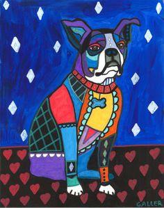 Dog Art  Boston Terrier Art  Diamonds  Hearts  by HeatherGallerArt, $24.00