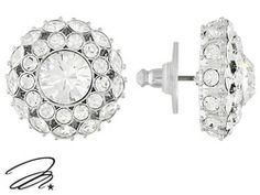 Marilyn Monroe (Tm) Jewelry Collection, Round And Marquise Crystal Rhodium Plated Bronze Earrings