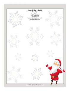 A smiling Santa Claus is surrounded by a gray border on this Christmas stationery. A background of falling snowflakes creates a festive paper for writing Christmas letters or holiday wishes. Free to download and print