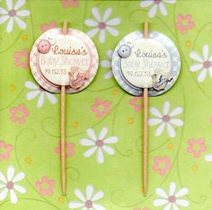 12 LUXURY PERSONALISED BABY SHOWER CUP CAKE FLAG Party Pick Topper Decoration   eBay