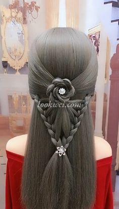 braid hairstyle idea and High crown ponytail Braided petal hairstyle - Beliebt Haar Und Beauty Box Braids Hairstyles, Cool Hairstyles, Fantasy Hairstyles, Hairstyle Braid, Hair Upstyles, Box Braids Styling, Braided Ponytail, Hair Videos, Hair Trends