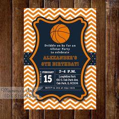 Chevron Basketball Invitation  Basketball Birthday by MommiesInk, $14.00