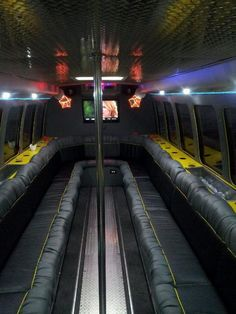 Passenger Party Bus with disco lights, dance pole, wrap around seating, flat screens for videos, cupholders & surround sound with auxiliary to play your own music! Bus Times, Hummer Limo, Disco Lights, Party Bus, Surround Sound, School Parties, Pole Dancing, Screens, Car Seats