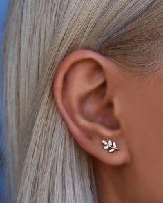 Cute Stud Earrings, Small Earrings, Leaf Earrings, Etsy Earrings, Earring Studs, Ear Studs, Dainty Earrings, Diamond Stud Earrings, Rose Gold Earrings