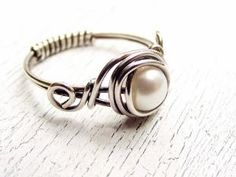 Wire Wrapped Fresh Water Pearl Sterling Silver Ring