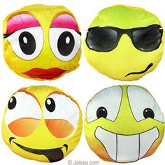 PLUSH BIG-EYED EMOJIS. Imprinted in bright colors on velour, these will delight any stuffed animal collector. Assorted styles. Perfect for party favors and Easter basket treats. Size 8 Inches