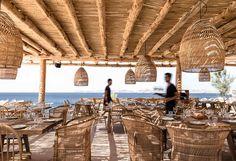 Scorpios Mykonos is a hip beach club near Mykonos Town. Stylish Scorpios Beach Club Mykonos has 2 beaches, plenty of lounge areas and a great restaurant. Scorpios Mykonos, Wabi Sabi, Club Mykonos, Mykonos Greece, Villa Am Meer, Casa Cook, Greek Restaurants, Bar Design Awards, Turbulence Deco