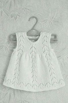 "Knitted: cute and simple. ""Check Ravelry for this pattern."", ""Gorgeous white knitted dress for babies"", ""Love the simple dress."", ""Knitted: cute a Baby Knitting Patterns, Knitting For Kids, Baby Patterns, Free Knitting, Crochet Patterns, Knit Baby Dress, Knitted Baby Clothes, Baby Cardigan, Baby Jumper"