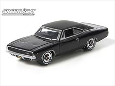 """1968 Dodge Charger R/T Black from the movie """"Bullitt"""" 1/64 Diecast Car Model by Greenlight"""