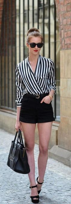 Stripes & Shorts top - Chicnova / shorts - Choies / heels - Steve Madden / bag - Celine / sunglasses - Ray Ban / watch - Michael Kors Fashion Trend by Vogue Haus Casual Outfits, Summer Outfits, Fashion Outfits, Fashion Trends, Fashion Inspiration, Shorts Negros, Mode Shorts, Moda Fashion, Womens Fashion