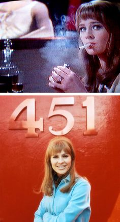 Julie Christie played two different characters in the 1966 film, Fahrenheit 451, directed by François Truffaut. Characters: Linda (Mildred) Montag and Clarisse.  The novel by Ray Bradbury is a literary masterpiece, but the movie is a must see.  Julie Christie's performances were unforgettable!
