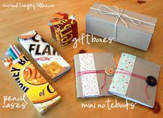 cereal box upcycling - 4 Patterns and How To... Ohh yes these notebooks