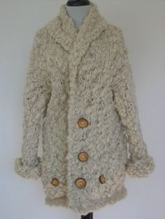 Extra Warm Hand Knitted Unisex Coat Cardigan by LunaPortenia, $265.00