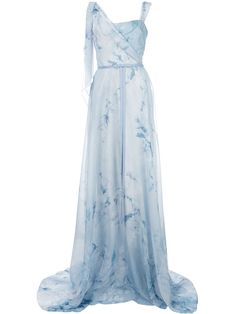 Shop online blue Marchesa Notte floral asymmetric gown as well as new season, new arrivals daily. Marchesa Gowns, Blue Wedding Dresses, Fantasy Dress, Costume, Print Chiffon, Beautiful Gowns, Pretty Dresses, Evening Gowns, Ball Gowns