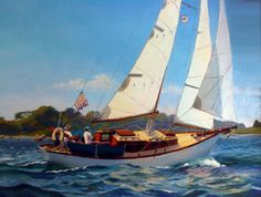 new england art | A Bright and Breezy Day...Restless Wind in Woods Hole by Will Kirkpatrick Oil/Canvas 25x29inches