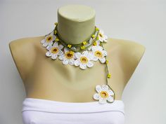 CROCHET JEWELRY -Crochet bead work CROCHET  necklace jewelry/crochet pendant / crochet necklace/ with beads. $21.00, via Etsy.