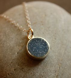 WINTER SALE Black and Charcoal Grey Agate Druzy Necklace by OhKuol, $33.15