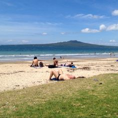 Rangitoto Island from Takapuna beach - NZ summer