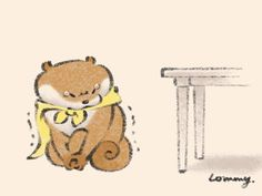 Animal Drawings, Cute Drawings, Otter Cartoon, Otters, Cute Baby Animals, Cute Babies, Weird, Teddy Bear, Kawaii