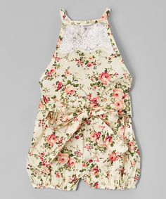 Loving this Cream & Pink Floral Lace Bubble Romper - Toddler & Girls on #zulily! #zulilyfinds
