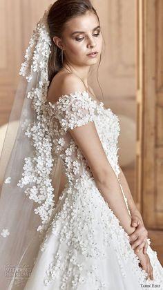 tarik ediz 2017 bridal off the shoulder sweetheart neckline heavily embellished bodice romantic princess a  line wedding dress (5) sdv  -- Tarik Ediz White 2017 Wedding Dresses