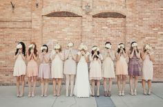 unique bridesmaid dresses #1: neutral bridesmaid dresses  i hope i could find a way so that all my bridesmaids had different dresses. i just love this idea