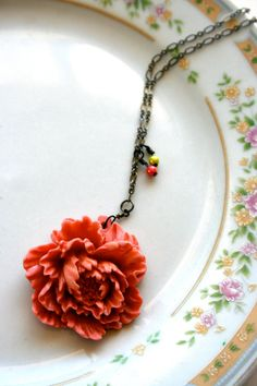 necklace  pink resin flower with glow beads by LegalMissSunshine, $25.00