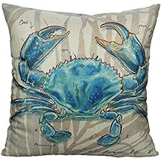 All Smiles Ocean Beach Outdoor Throw Pillow Covers Case Decorative Sea Coastal Theme Decor Cushion Square Pillowcase Crab Decorations for Patio Couch Sofa,Marine Animals