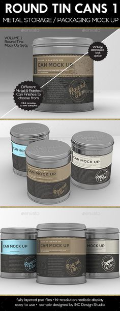Round Tin Cans Vol.1 Packaging Mock Ups - Food and Drink Packaging