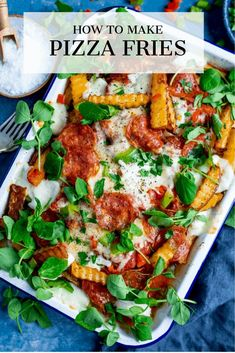 Pepperoni Pizza Fries loaded with pizza sauce, stretchy mozzarella and tasty cheddar. A fantastic appetizer, party food or game day snack. Pizza Fries Recipe, Pizza Recipes, Best Appetizers, Appetizer Recipes, Buttermilk Chicken Burger, Sticky Pork, Great Recipes, Favorite Recipes, Appetizer Party