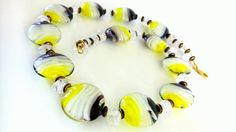 Lampwork Necklace Yellow White Black Colorful Oversize Crystal