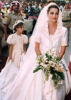 Queen Rania of Jordan on her wedding day.