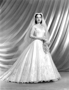 1940s-50's actress Ann Blyth in her wedding dress.
