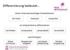 NMS inhaltlich Differentiation, Research, Communication, Teachers